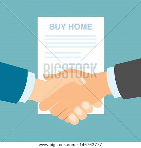 Buy home handshake with contract. Making agreement about bauying new real estate, property. Great deal.