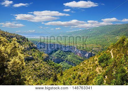 The biggest mountain canyon in Europe in the spring. Canyon of Verdon, Provence