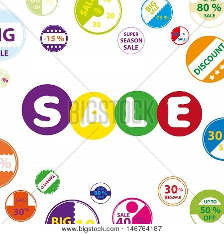 Sale Colorful White Funky Poster With Circle Icons Set For Discount Shop Eps10