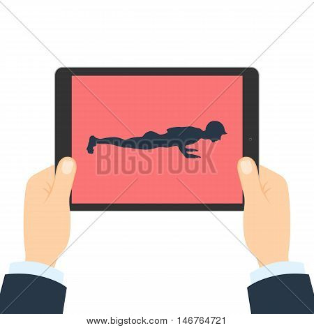 Fitness app for tablet. Hands holding tablet. Abs and arms exercise. How to push-up.