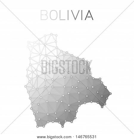 Bolivia Polygonal Vector Map. Molecular Structure Country Map Design. Network Connections Polygonal