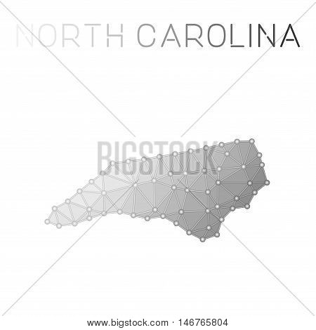 North Carolina Polygonal Vector Map. Molecular Structure Us State Map Design. Network Connections Po