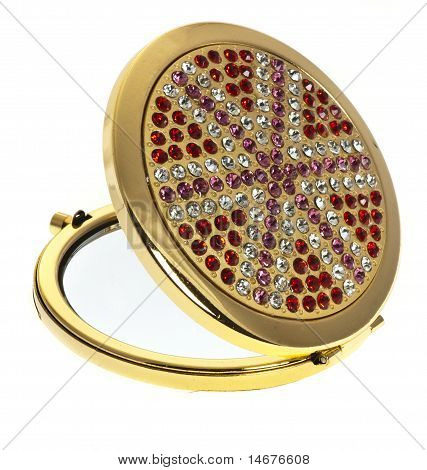 Cosmetics mirror with strasses
