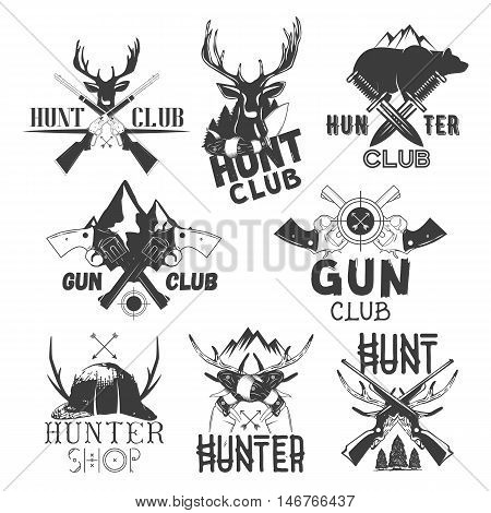 Vector set of hunt club labels. Monochrome badges, emblems, logos and banners in vintage style. Isolated illustrations of guns, deers, knifes, hat and bear