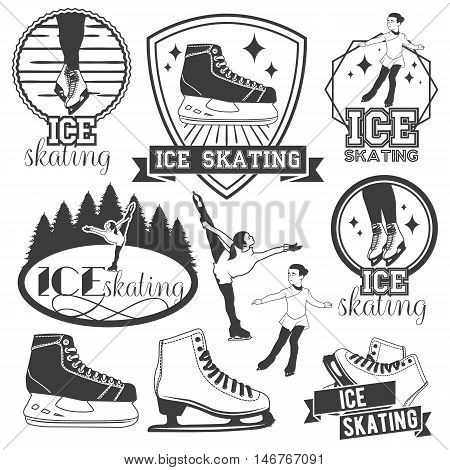 Vector set of ice skating emblems, badges, logos, banners, design elements. Isolated monochrome illustrations in vintage style