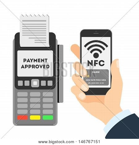 Payment approved concept. NFC concept. Man paying with smartphone.