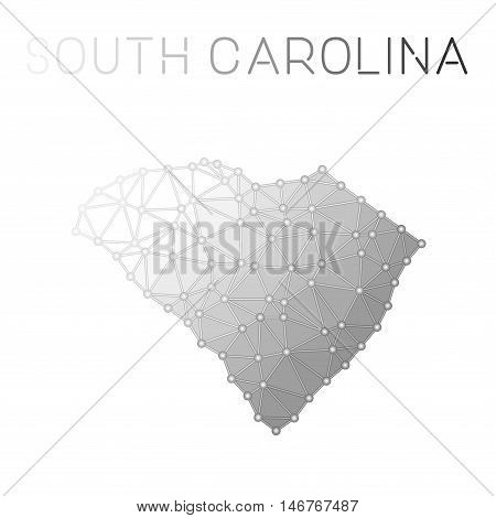 South Carolina Polygonal Vector Map. Molecular Structure Us State Map Design. Network Connections Po