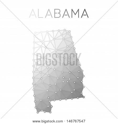 Alabama Polygonal Vector Map. Molecular Structure Us State Map Design. Network Connections Polygonal