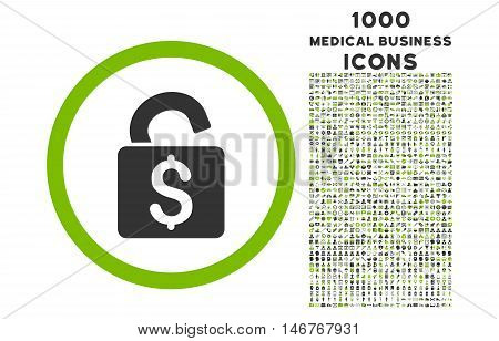 Unlock Banking Lock rounded glyph bicolor icon with 1000 medical business icons. Set style is flat pictograms, eco green and gray colors, white background.