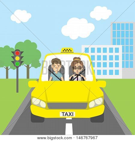 Taxi driver with passenger. Smiling people in yellow cab. Riding on the city street. Yellow car for urban service.