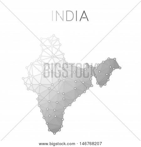 India Polygonal Vector Map. Molecular Structure Country Map Design. Network Connections Polygonal In