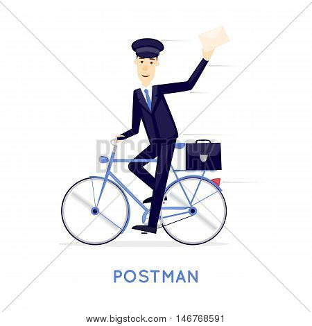 Postman brings a letter on a bicycle on a white background. Character. Flat design vector illustration.