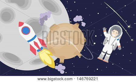 Astronaut floating in cosmos. Space travel. Earth and Moon and rocket. Happy smiling man in space suit.