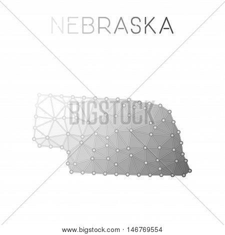 Nebraska Polygonal Vector Map. Molecular Structure Us State Map Design. Network Connections Polygona