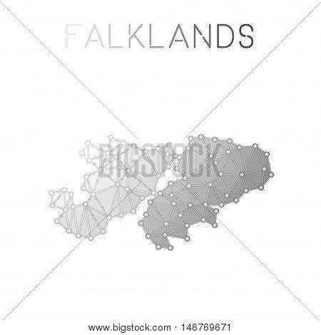 Falkland Islands (malvinas) Polygonal Vector Map. Molecular Structure Country Map Design. Network Co
