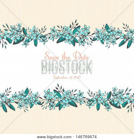 Forget-me-not Blue Flowers Hand Drawn Bouquets Horizontal Frame