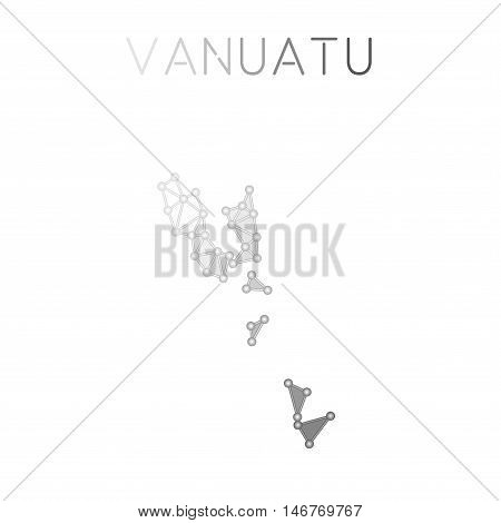 Vanuatu Polygonal Vector Map. Molecular Structure Country Map Design. Network Connections Polygonal