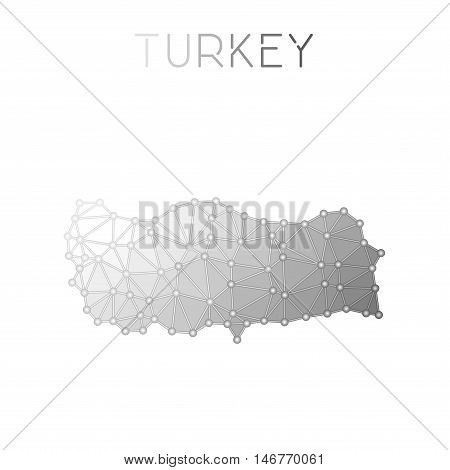Turkey Polygonal Vector Map. Molecular Structure Country Map Design. Network Connections Polygonal T