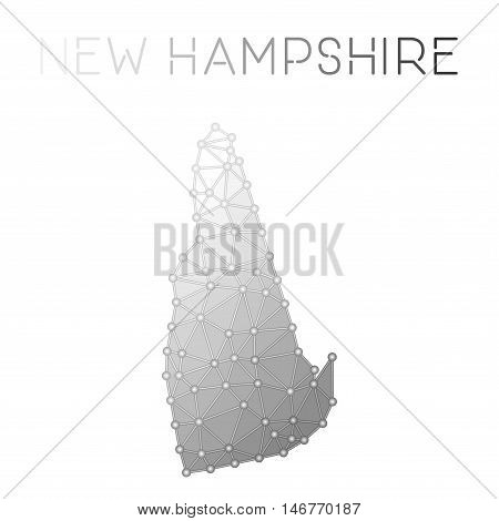 New Hampshire Polygonal Vector Map. Molecular Structure Us State Map Design. Network Connections Pol