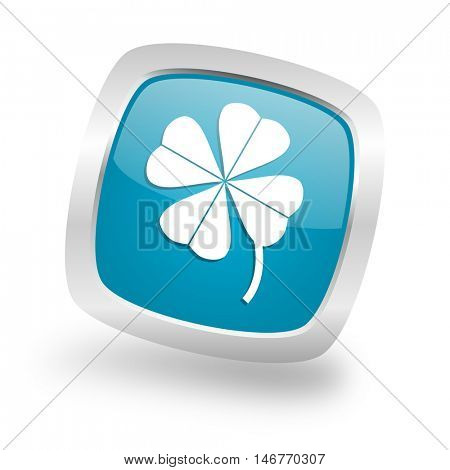 four-leaf clover square glossy chrome silver metallic web icon