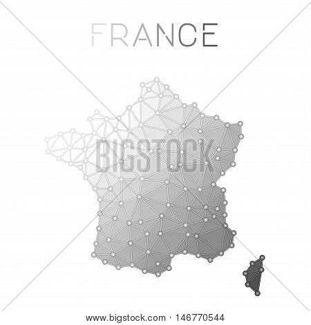 France Polygonal Vector Map. Molecular Structure Country Map Design. Network Connections Polygonal F