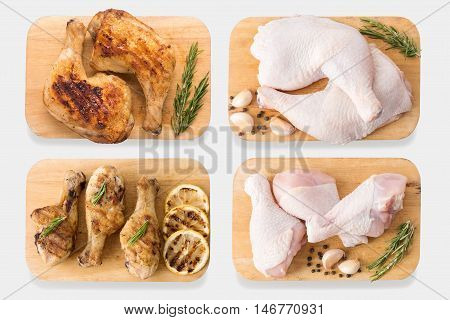 Mockup Raw Chicken And Grilled Chicken On Cutting Board Set Isolated On White Background. Clipping P