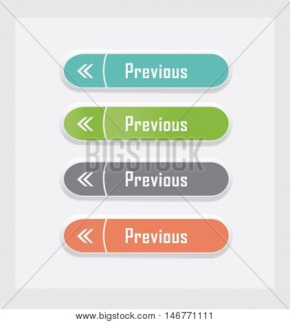 Previous. Set of vector web interface buttons. Color variations.