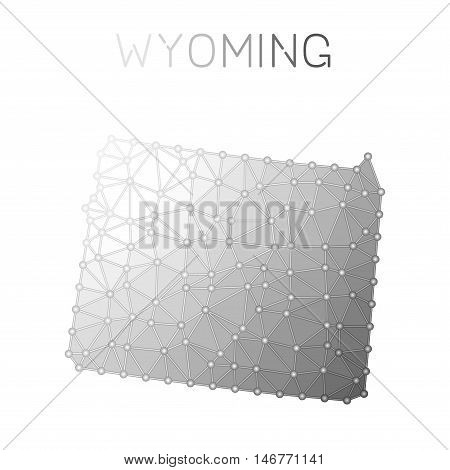 Wyoming Polygonal Vector Map. Molecular Structure Us State Map Design. Network Connections Polygonal