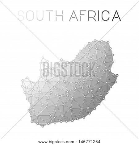 South Africa Polygonal Vector Map. Molecular Structure Country Map Design. Network Connections Polyg