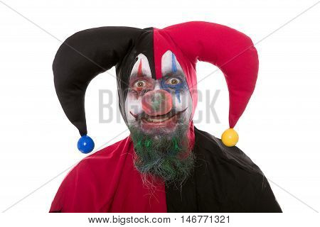 Portrait Of A Jester, Isolated On White