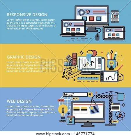 Modern editable flat line vector set of abstact web design process responsive and graphic design