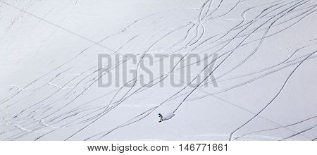 Panoramic View On Snowboarder Downhill On Off Piste Slope With Newly-fallen Snow