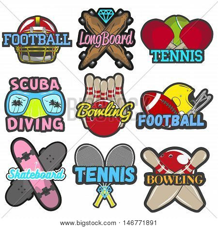 Vector set of sports and games emblems, badges, logos, labels or banners. Isolated templates of bowling, tennis, skateboard, football, scuba diving and longboard in vintage style. Summer mood