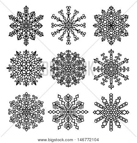 Vector Snowflakes Isolated Set. Hand drawn mandala shape. Intricate design elements. Round ornament decoration. For Christmas decoration, New Year card, sales banner, winter icon.