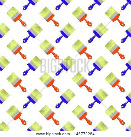 Red Blue Brushes Seamless Pattern on White. Paintbrush Background