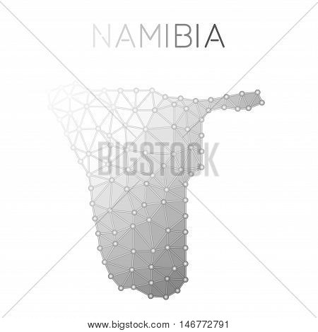 Namibia Polygonal Vector Map. Molecular Structure Country Map Design. Network Connections Polygonal