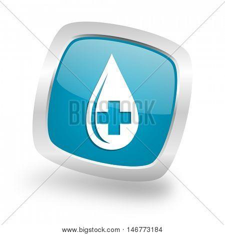 blood square glossy chrome silver metallic web icon