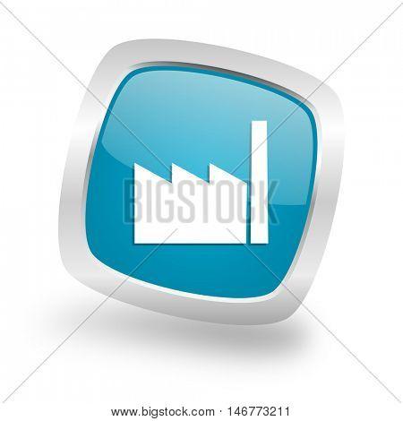 factory square glossy chrome silver metallic web icon