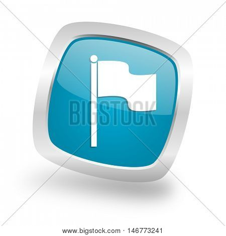 flag square glossy chrome silver metallic web icon
