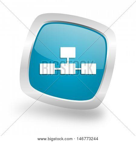 database square glossy chrome silver metallic web icon