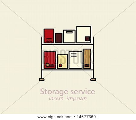 Storage service logo with boxes on the shelves.