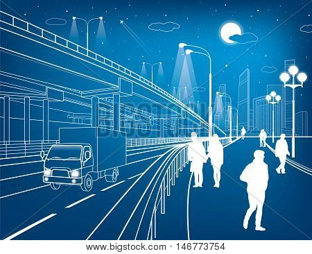 Automotive flyover, truck travels, architectural, infrastructure and transportation illustration, transport overpass, people walking, highway, white lines, urban scene, night city, vector design art