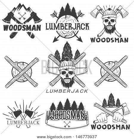 Vector set lumberjack logos, emblems, banners, labels or badges. Monochrome isolated illustration with woodsman, skull, axe, firewood, saw and forest silhouette on white background