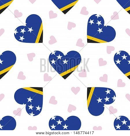 Solomon Islands Independence Day Seamless Pattern. Patriotic Background With Country National Flag I