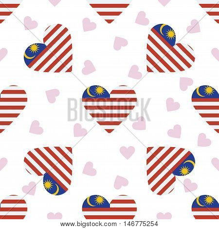 Malaysia Independence Day Seamless Pattern. Patriotic Background With Country National Flag In The S