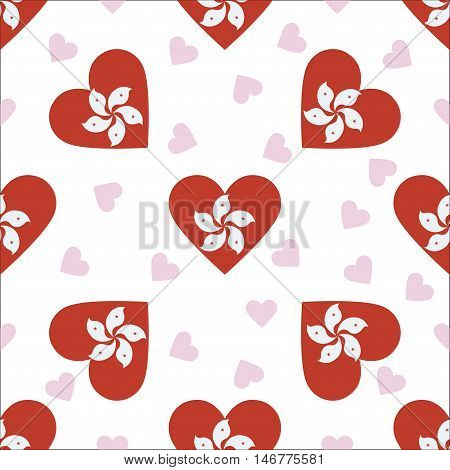 Hong Kong Independence Day Seamless Pattern. Patriotic Background With Country National Flag In The