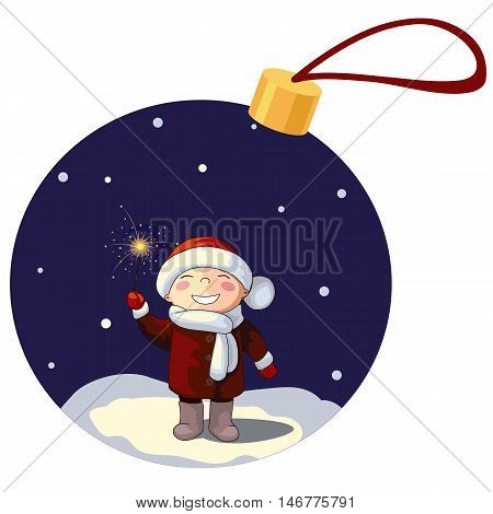 vector illustration of a boy dwarf elf hat mittens scarf coat with sparkler in the snow snowfall snowflake night light