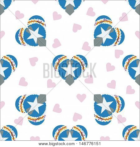 Northern Mariana Islands Independence Day Seamless Pattern. Patriotic Background With Country Nation