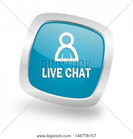 live chat square glossy chrome silver metallic web icon