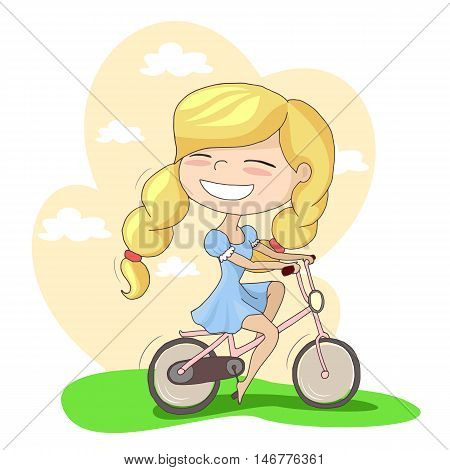 vector blonde girl riding a bicycle outdoor